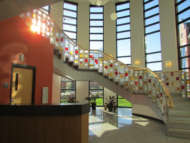 Artwork inside one of the main campus buildings on Grand View University's campus
